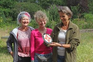 Katrien, Carlijn en Els nemen de buurtwetertegel in ontvangst (Foto: Aarnoud Bak)