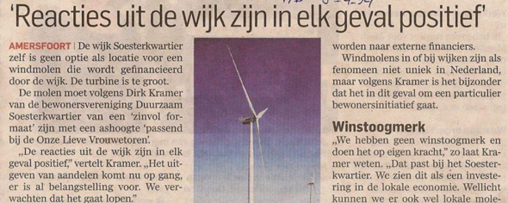 Initiatief van Duurzaam Soesterkwartier: Windmolen op de Isselt